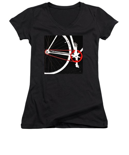 Bike In Black White And Red No 2 Women's V-Neck T-Shirt