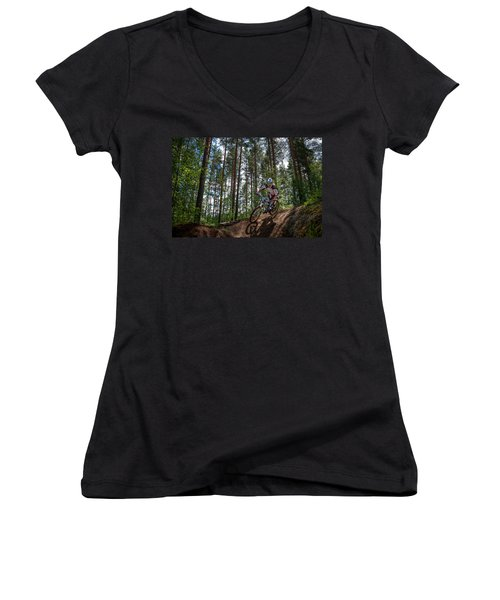 Biker On Trail Women's V-Neck