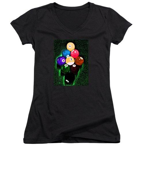 Billiards Art - Your Break Women's V-Neck T-Shirt (Junior Cut) by Lesa Fine