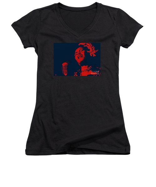 Women's V-Neck T-Shirt (Junior Cut) featuring the painting Billie Holiday by Vannetta Ferguson