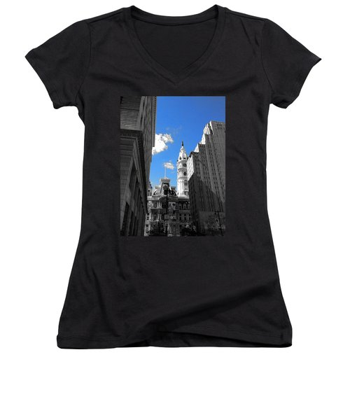 Women's V-Neck T-Shirt (Junior Cut) featuring the photograph Billy Penn Blue by Photographic Arts And Design Studio