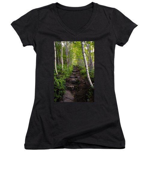 Birch Woods Hike Women's V-Neck T-Shirt
