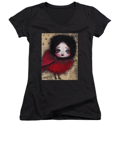 Bird Girl #1 Women's V-Neck T-Shirt (Junior Cut) by Abril Andrade Griffith
