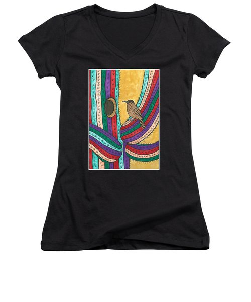 Women's V-Neck T-Shirt (Junior Cut) featuring the painting Bird House by Susie Weber