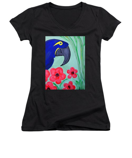 Women's V-Neck T-Shirt (Junior Cut) featuring the painting Bird In Paradise   by Nora Shepley