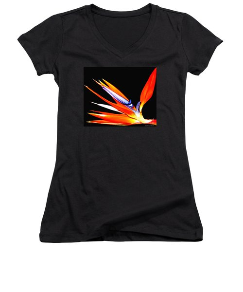 Women's V-Neck T-Shirt (Junior Cut) featuring the photograph Bird Of Paradise Flower With Oil Painting Effect by Rose Santuci-Sofranko