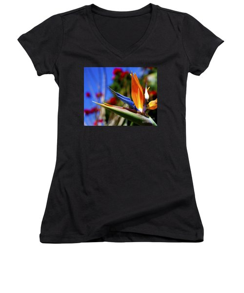 Women's V-Neck T-Shirt (Junior Cut) featuring the photograph Bird Of Paradise Open For All To See by Jerry Cowart