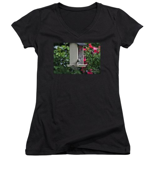 Women's V-Neck T-Shirt (Junior Cut) featuring the photograph Bird Time To Fly by Thomas Woolworth
