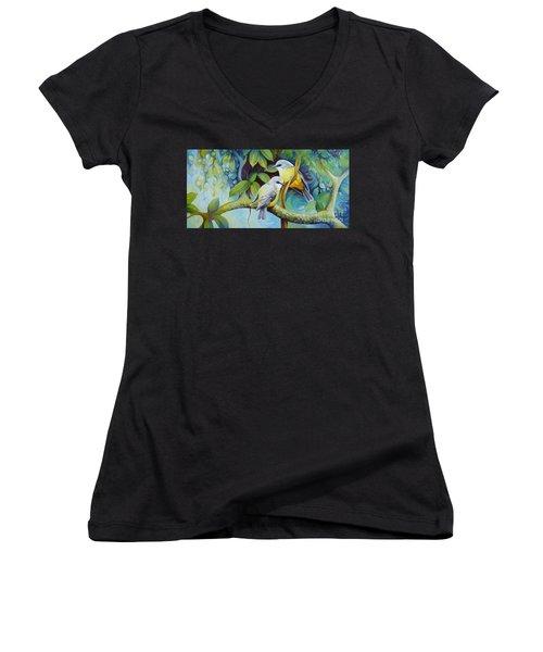 Birds Women's V-Neck T-Shirt (Junior Cut) by Elena Oleniuc