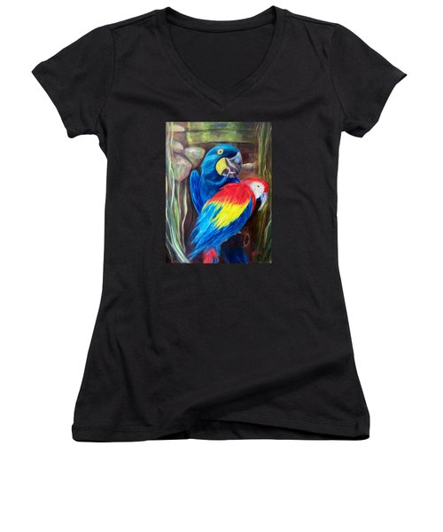 Bird's Of A Feather, Macaws Women's V-Neck T-Shirt