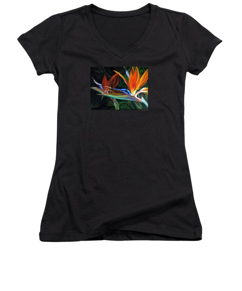 Women's V-Neck T-Shirt (Junior Cut) featuring the painting Birds Of Paradise by LaVonne Hand
