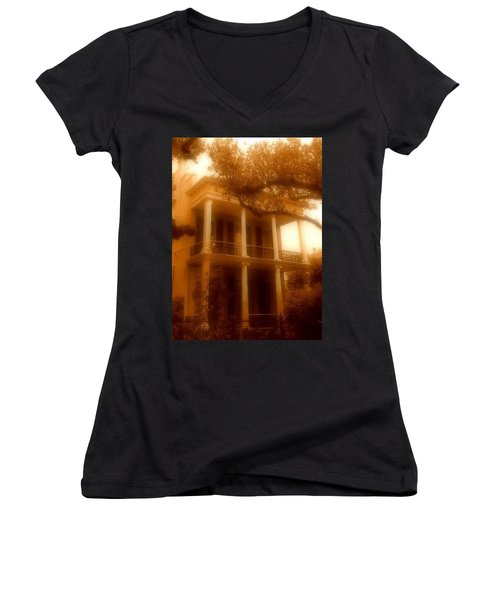 Birthplace Of A Vampire In New Orleans, Louisiana Women's V-Neck T-Shirt (Junior Cut) by Michael Hoard