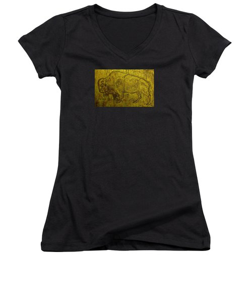 Golden  Buffalo Women's V-Neck T-Shirt (Junior Cut) by Larry Campbell