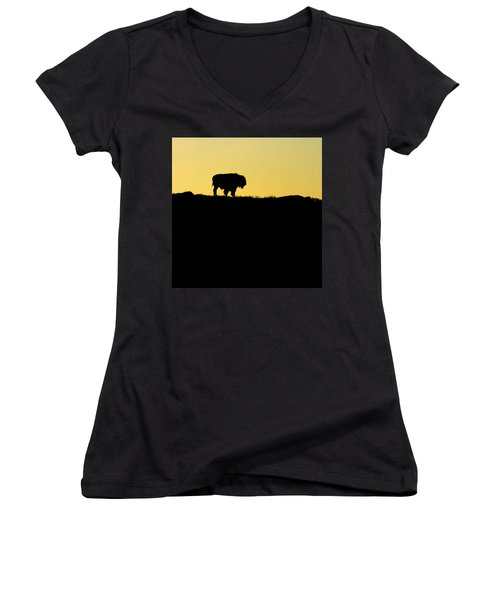 Women's V-Neck T-Shirt (Junior Cut) featuring the photograph Bison Sunrise by Sonya Lang