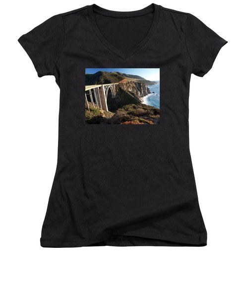 Bixby Bridge Afternoon Women's V-Neck T-Shirt (Junior Cut) by Joe Schofield