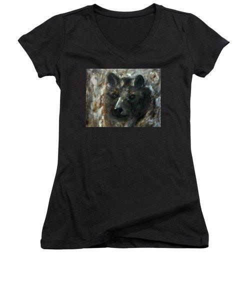 Women's V-Neck T-Shirt (Junior Cut) featuring the painting Bjomolf - Bear Wolf by Barbie Batson