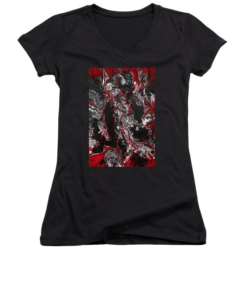 Black And White And Red All Over Women's V-Neck (Athletic Fit)