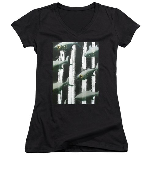 Black And White Fish Women's V-Neck (Athletic Fit)