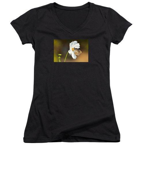 Black And White Women's V-Neck T-Shirt (Junior Cut) by Fotosas Photography