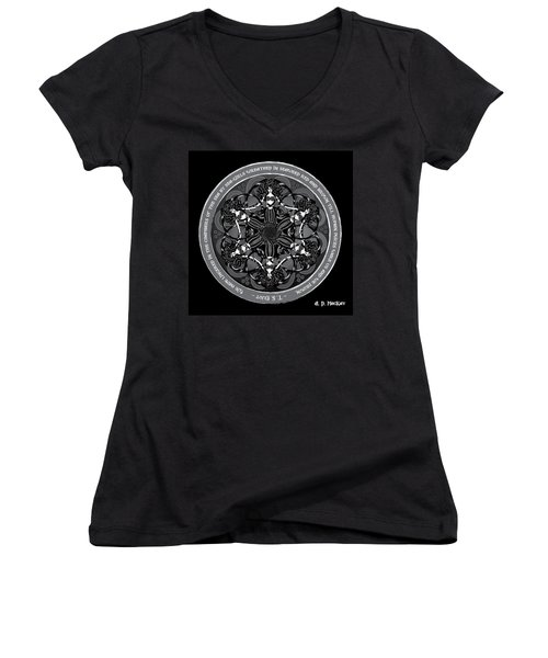 Black And White Gothic Celtic Mermaids Women's V-Neck (Athletic Fit)