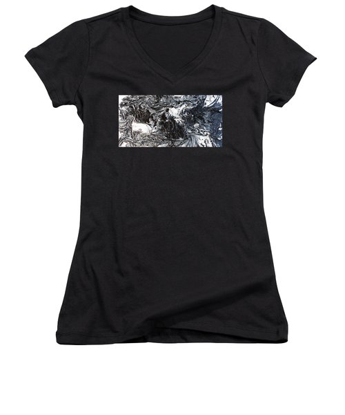 Black And White Series 3 Women's V-Neck (Athletic Fit)