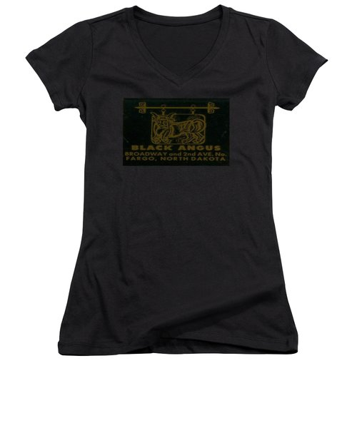 Women's V-Neck T-Shirt (Junior Cut) featuring the digital art Black Angus by Cathy Anderson