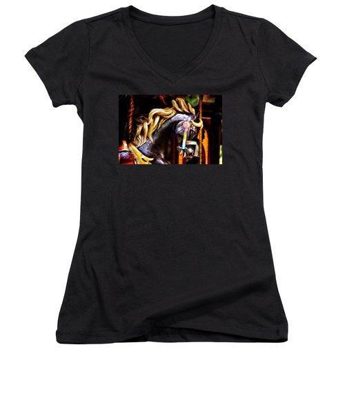 Black Carousel Horse Women's V-Neck