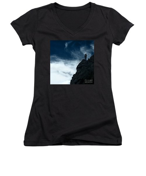 Women's V-Neck T-Shirt (Junior Cut) featuring the photograph Black Cliff by Dana DiPasquale