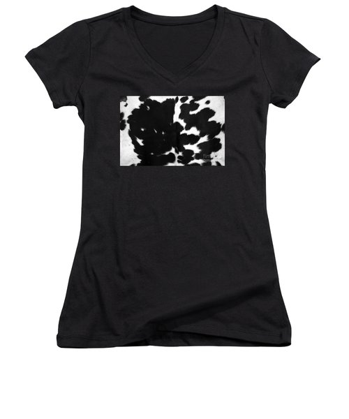 Women's V-Neck T-Shirt (Junior Cut) featuring the photograph Black Cowhide by Gunter Nezhoda
