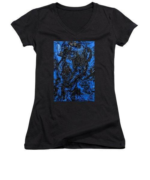 Black Cracks With Blue Women's V-Neck (Athletic Fit)
