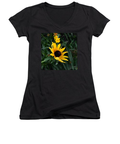 Women's V-Neck T-Shirt (Junior Cut) featuring the photograph Black-eyed Susan Glows With Cheer by Luther Fine Art