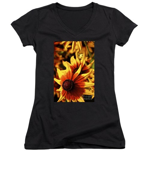 Women's V-Neck T-Shirt (Junior Cut) featuring the photograph Black Eyed Susan by Linda Bianic