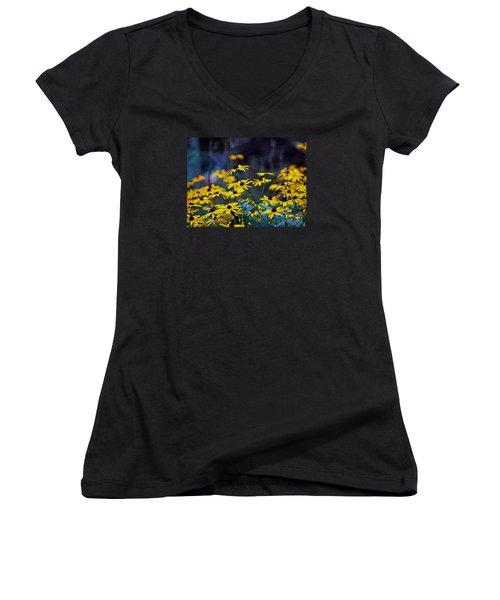 Black-eyed Susans Women's V-Neck T-Shirt (Junior Cut) by Patricia Griffin Brett