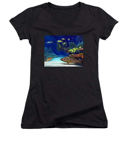 Black Grouper Reef Women's V-Neck (Athletic Fit)