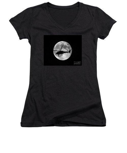 Black Hawk Moon Women's V-Neck T-Shirt