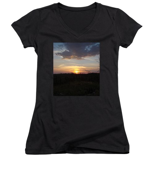Women's V-Neck T-Shirt (Junior Cut) featuring the photograph Black Hills Sunset IIi by Cathy Anderson