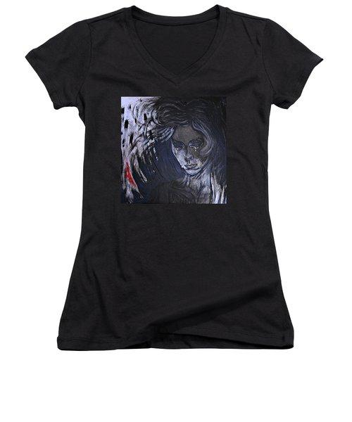 Women's V-Neck T-Shirt (Junior Cut) featuring the painting black portrait 16 Juliette by Sandro Ramani