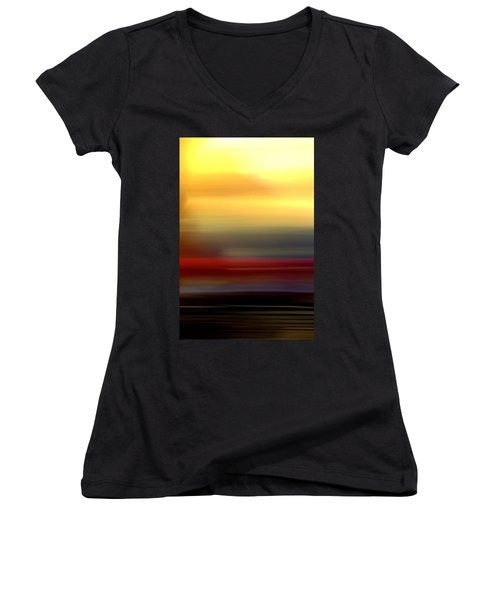 Black Red Yellow Women's V-Neck T-Shirt