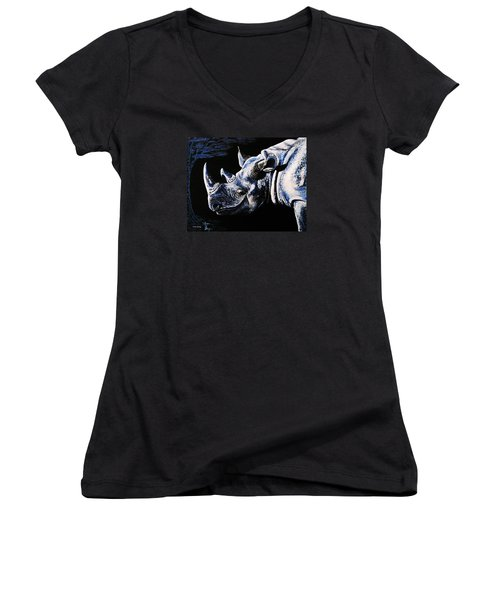 Women's V-Neck T-Shirt (Junior Cut) featuring the painting Black Rino by Viktor Lazarev