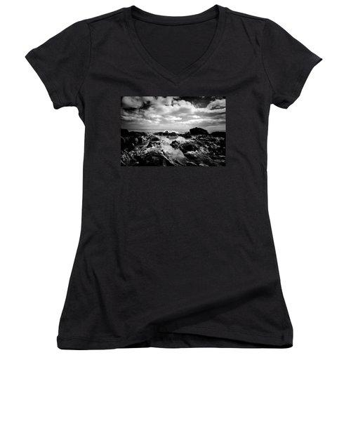 Black Rocks 1 Women's V-Neck T-Shirt