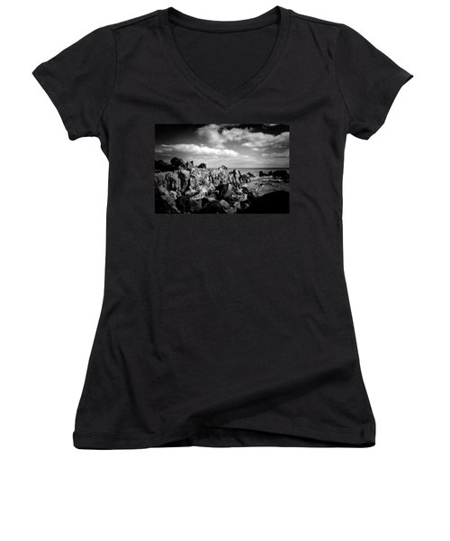 Black Rocks 3 Women's V-Neck (Athletic Fit)