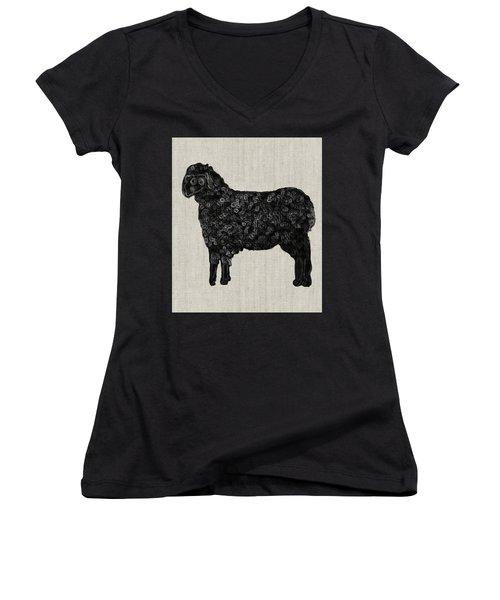 Black Sheep Women's V-Neck T-Shirt (Junior Cut) by Enzie Shahmiri