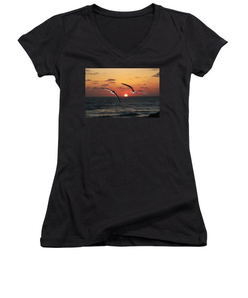 Women's V-Neck T-Shirt (Junior Cut) featuring the photograph Black Skimmers At Sunset by Tom Janca
