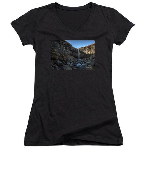 Black Waterfall Women's V-Neck T-Shirt