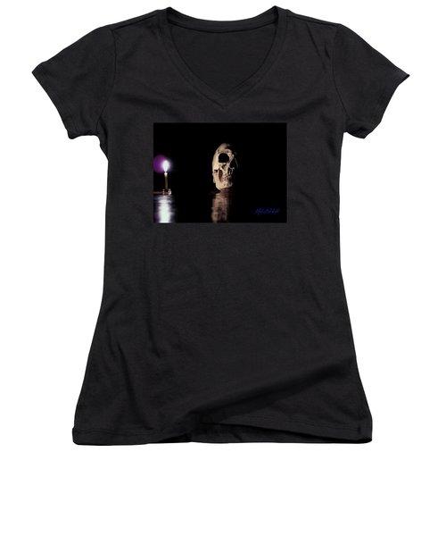 Women's V-Neck T-Shirt (Junior Cut) featuring the photograph Blackbeard's Skull by Mark Blauhoefer