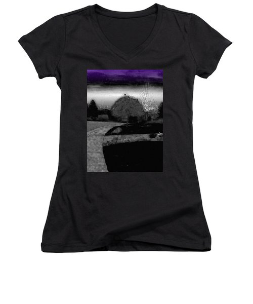 Blackbird In Tree Under Purple Night Sky Women's V-Neck T-Shirt