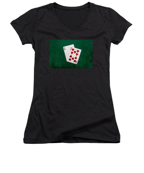 Blackjack Twenty One 1 Women's V-Neck T-Shirt (Junior Cut) by Alexander Senin