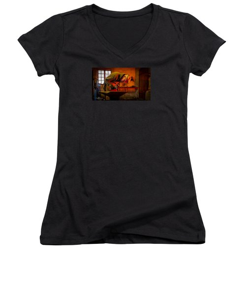 Blacksmith In Torresta Women's V-Neck T-Shirt (Junior Cut) by Torbjorn Swenelius