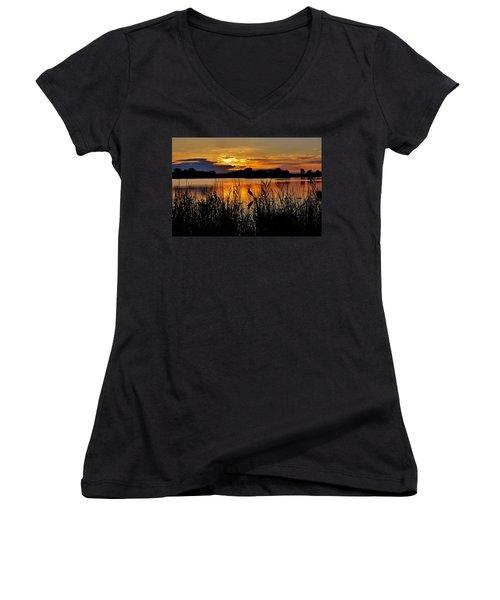 Blackwater Morning Women's V-Neck T-Shirt (Junior Cut) by Robert Geary