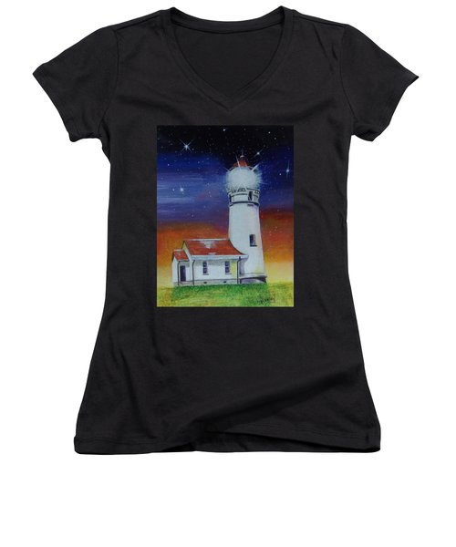 Women's V-Neck T-Shirt featuring the painting Blanco Lighthouse by Thomas J Herring